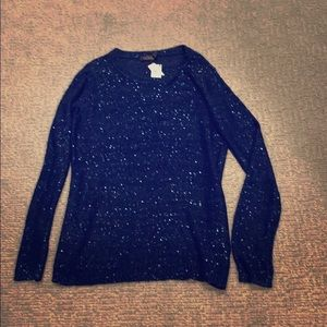 NWT The Limited Blue Sequined Sweater Size M